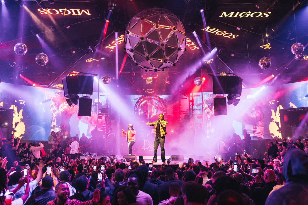 The hip-hop group Migos are shown at Drai's Nightclub at Cromwell on Saturday, Feb. 23, 2020. ( ...