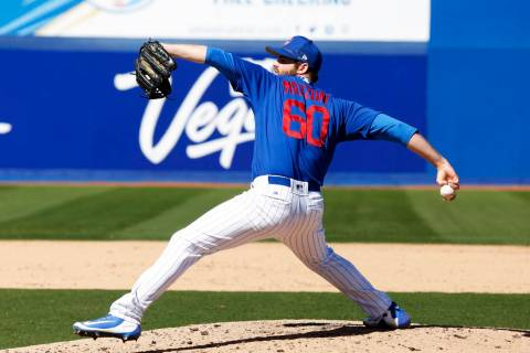 Chicago Cubs' Cory Mazzoni (60) pitches during the annual Big League Weekend baseball game agai ...