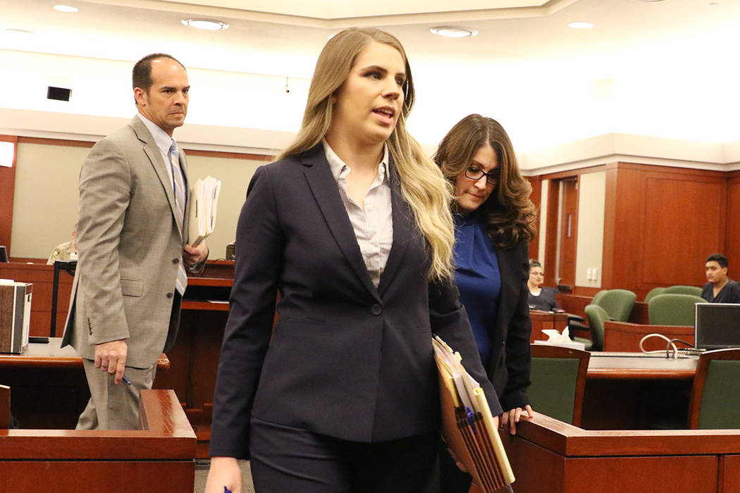 """Las Vegas Metro police officer Rachel Sorkow, right, accused of using """"criminal justice in ..."""