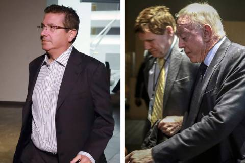 Washington Redskins owner Daniel Snyder, left, Green Bay Packers president Mark Murphy and Dall ...