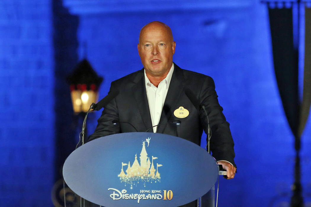 In this Sept. 11, 2015, file photo, Chairman of Walt Disney Parks and Resorts Bob Chapek speaks ...