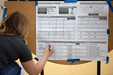 Precinct chair Kim Rogers tallies those for Warren, Sanders and Biden during the Nevada caucus ...