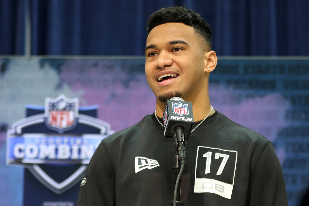 Alabama quarterback Tua Tagovailoa speaks during a news conference at the NFL scouting combine ...