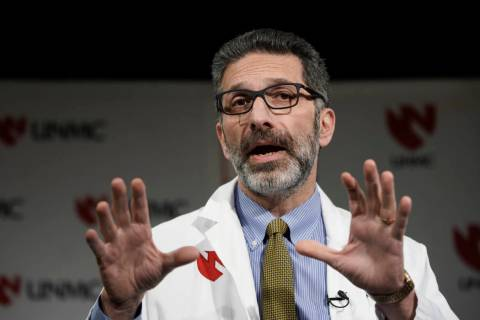Dr. Andre Kalil, of the University of Nebraska Medical Center, speaks in Omaha, Neb., Tuesday, ...