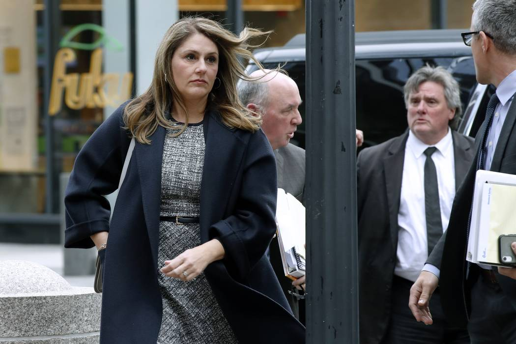 Michelle Janavs arrives at federal court, Tuesday, Feb. 25, 2020, in Boston, for sentencing in ...