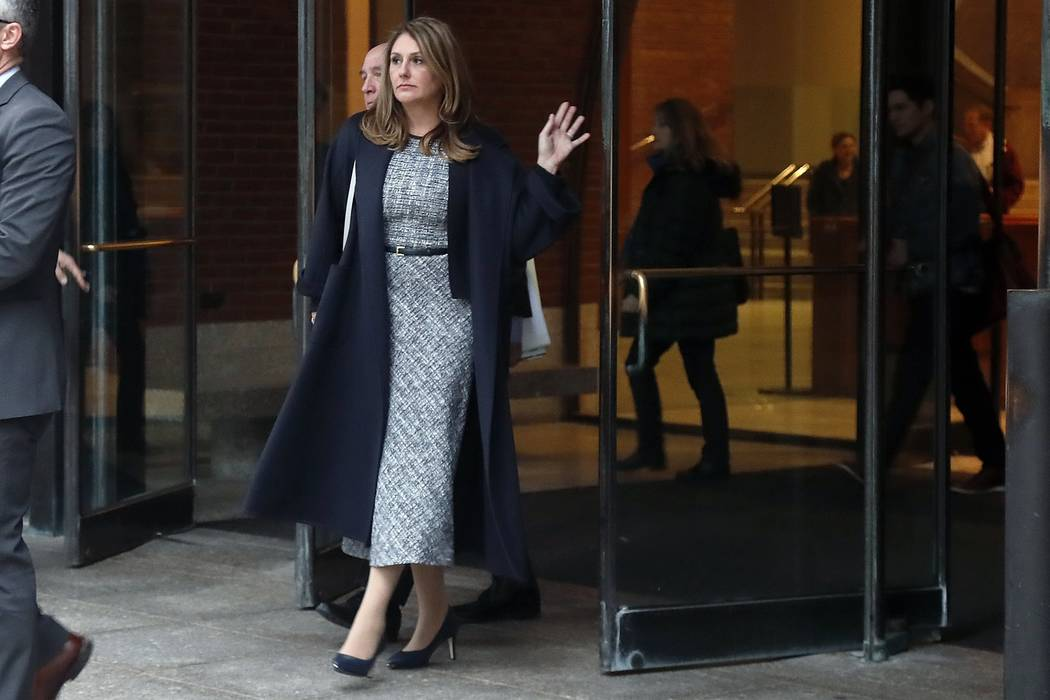 Michelle Janavs leaves federal court, Tuesday, Feb. 25, 2020, in Boston, after being sentenced ...