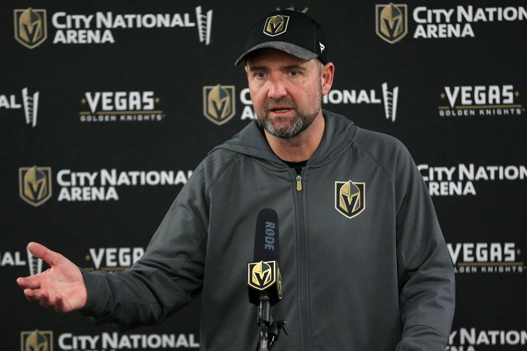 Vegas Golden Knights coach Peter DeBoer during a press conference following a team practice at ...