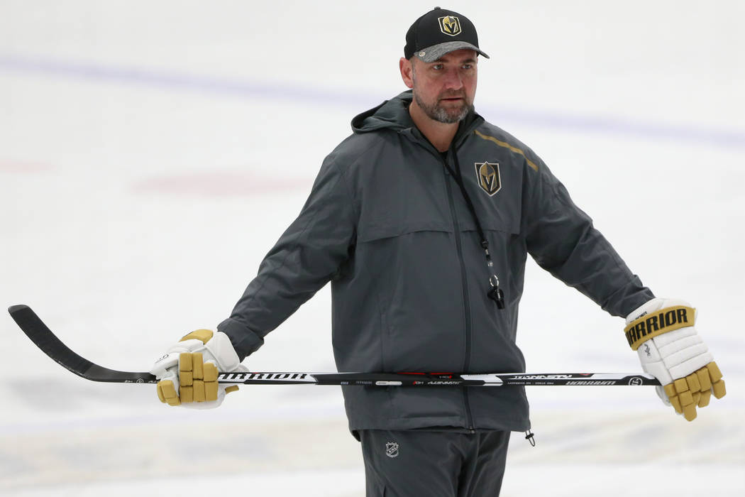 Vegas Golden Knights coach Peter DeBoer during a team practice at City National Arena in Las Ve ...