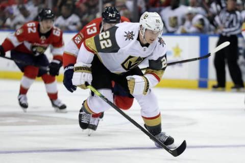 Vegas Golden Knights defenseman Nick Holden (22) skates during the second period of an NHL game ...