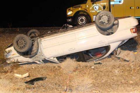 Police investigate a fatal crash Sunday, Feb. 23, 2020, on U.S. Highway 95 near Indian Springs. ...