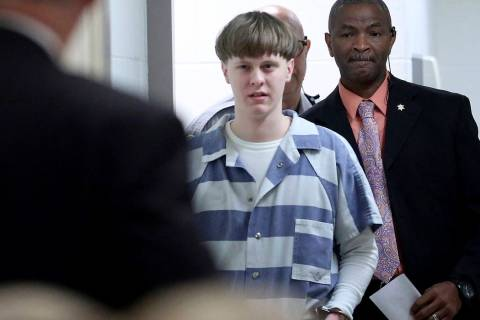 FILE - In this Monday, April 10, 2017 file photo, Dylann Roof arrives to a courtroom at the Cha ...