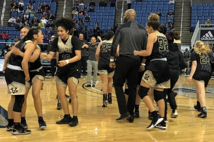 Spring Valley celebrates its 39-37 win over Bishop Manogue in the quarterfinals of the Class 4A ...