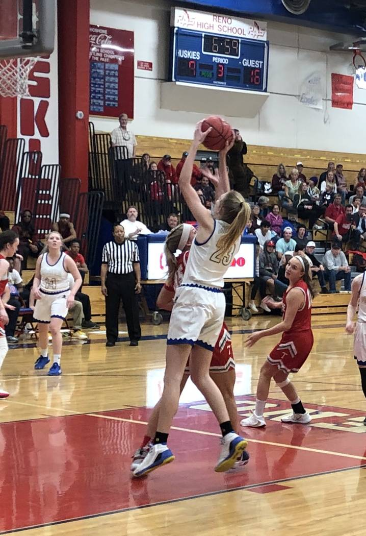 Sydney Reese shoots for a basket against Truckee in Moapa Valley's 38-26 loss in the Class 3A g ...