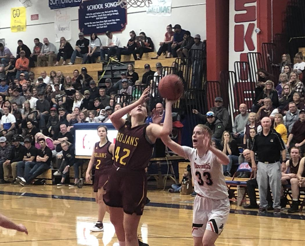 Kathryn Daffer goes up for a shot against Fernley in Pahrump Valley's 57-51 loss in the Class 3 ...