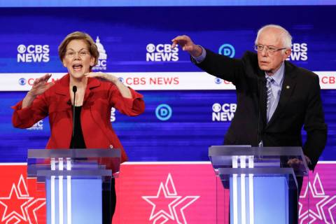Democratic presidential candidates, Sen. Elizabeth Warren, D-Mass., left, and Sen. Bernie Sande ...