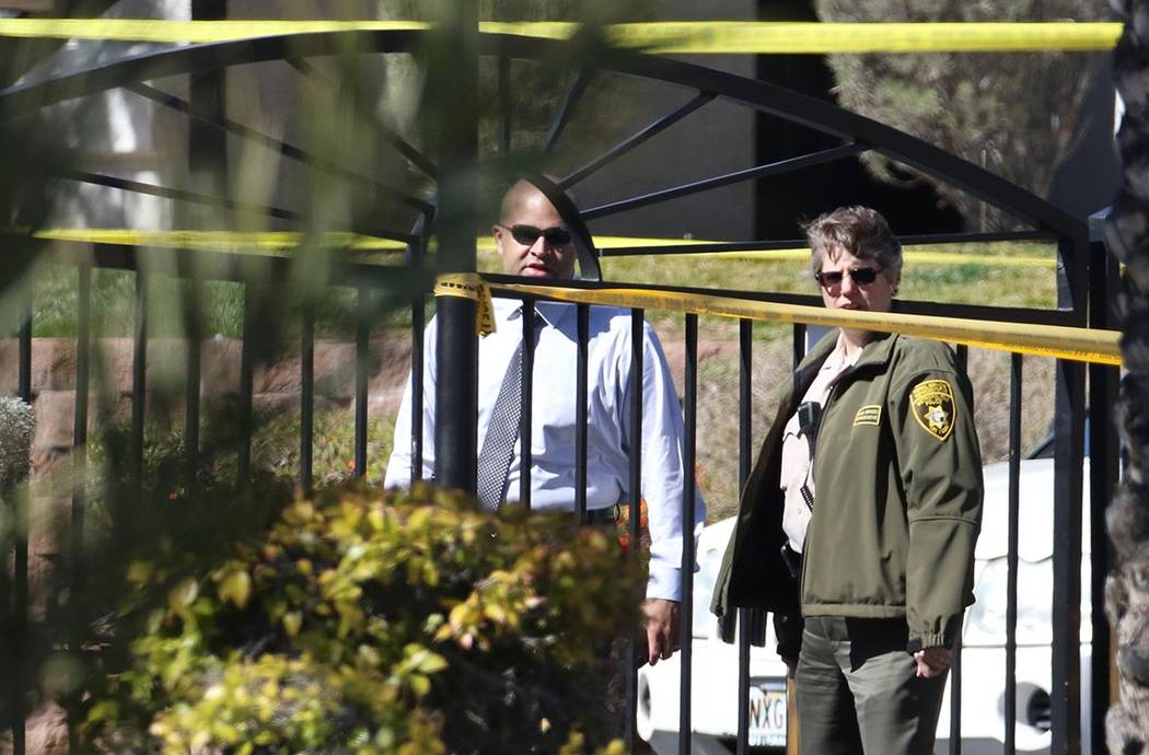 Las Vegas Police investigate a fatal shooting at 9100 W. Flamingo Road on Tuesday, Feb. 25, 202 ...