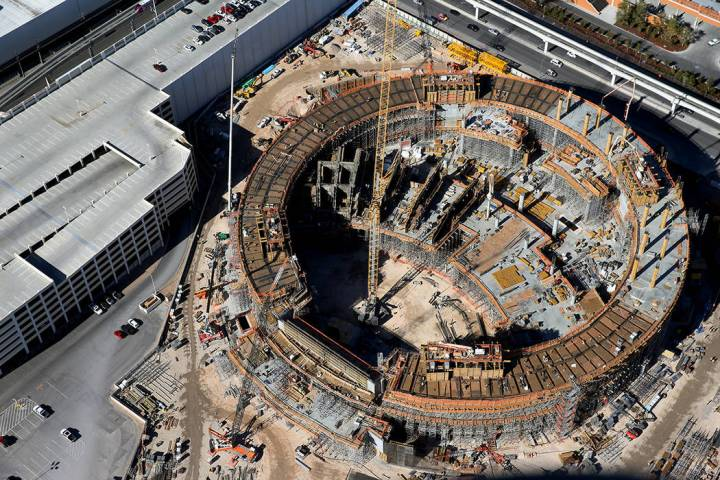 Aerial view of the MSG Sphere construction site in Las Vegas, Thursday, Jan. 23, 2020. (Erik Ve ...