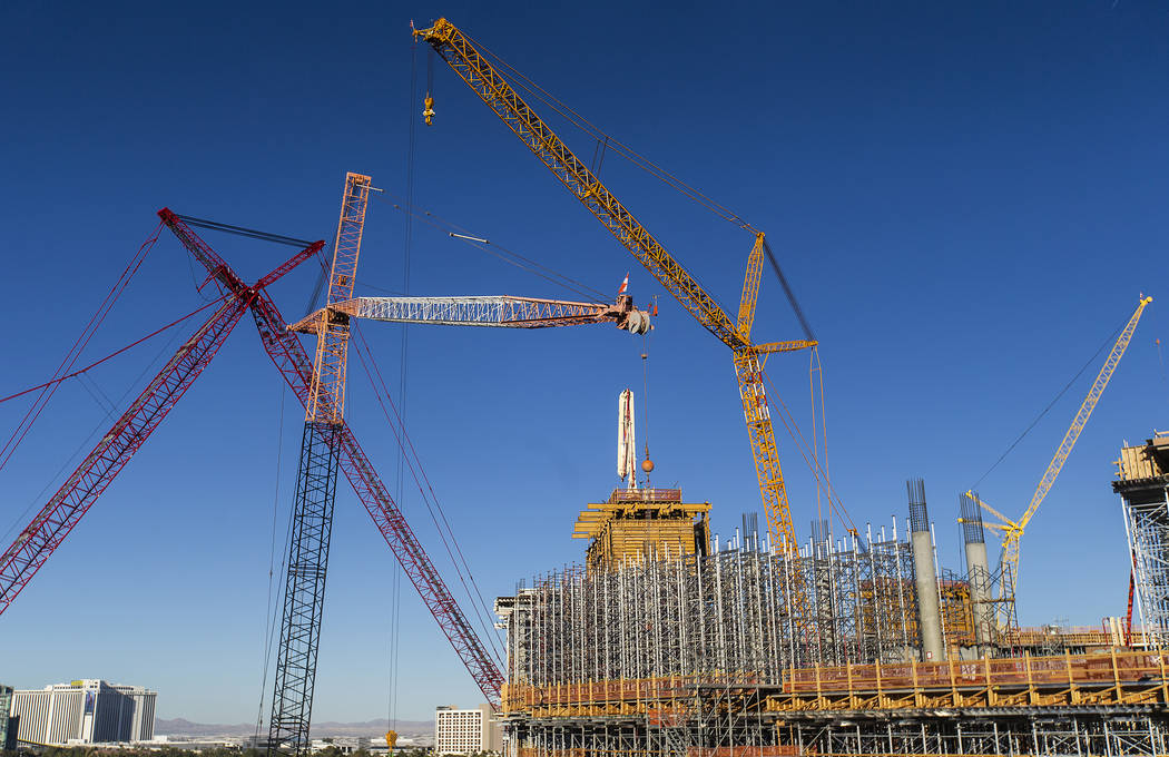 Construction continues on the MSG Sphere Las Vegas on Wednesday, Feb. 26, 2020, in Las Vegas. ( ...