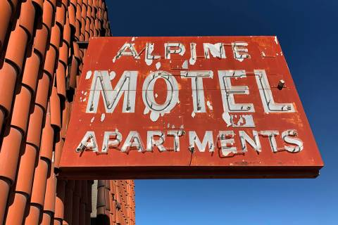 The sign outside the Alpine Motel Apartments pictured on Jan. 9, 2020, in Las Vegas. (David Guz ...