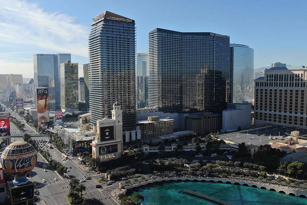 Aerial photo of the Cosmopolitan hotel casino as seen on Friday, January 24, 2020. (Michael Qui ...