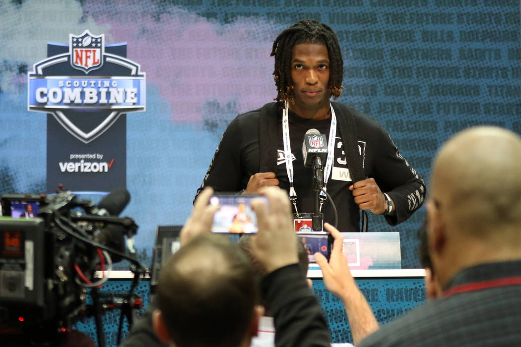 Oklahoma wide receiver Ceedee Lamb takes questions during a news conference at the NFL scouting ...
