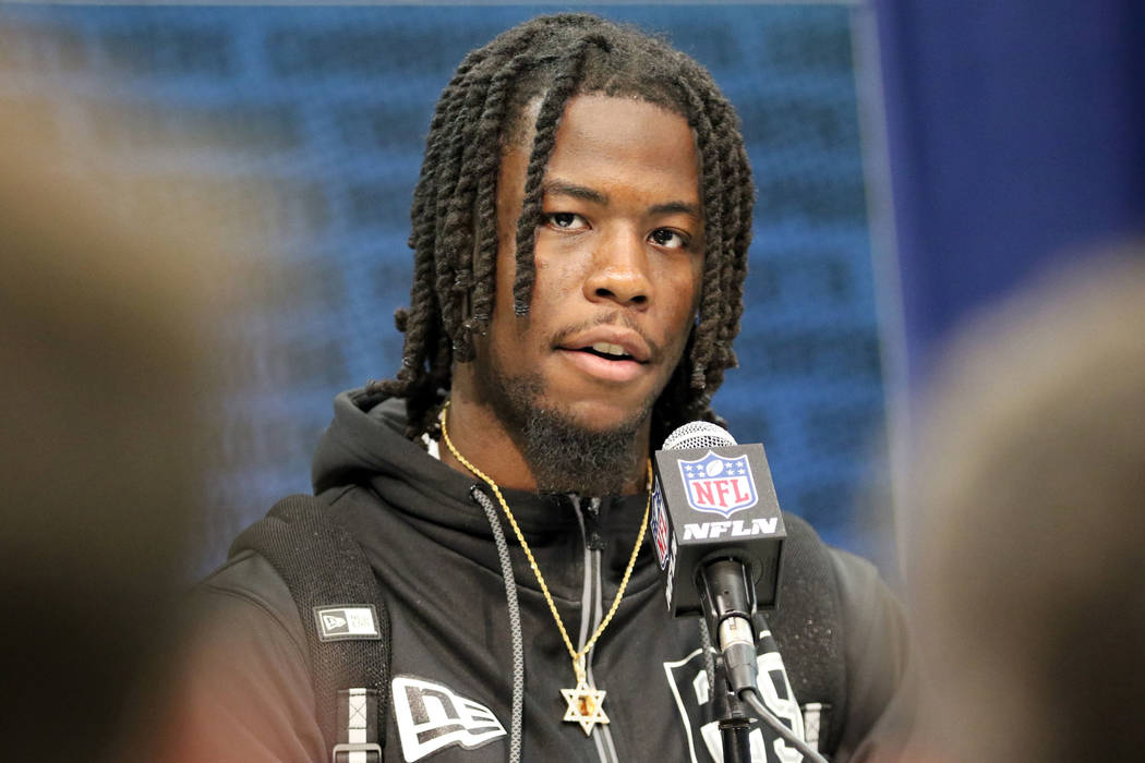 Alabama wide receiver Jerry Jeudy answers questions during a news conference at the NFL scoutin ...