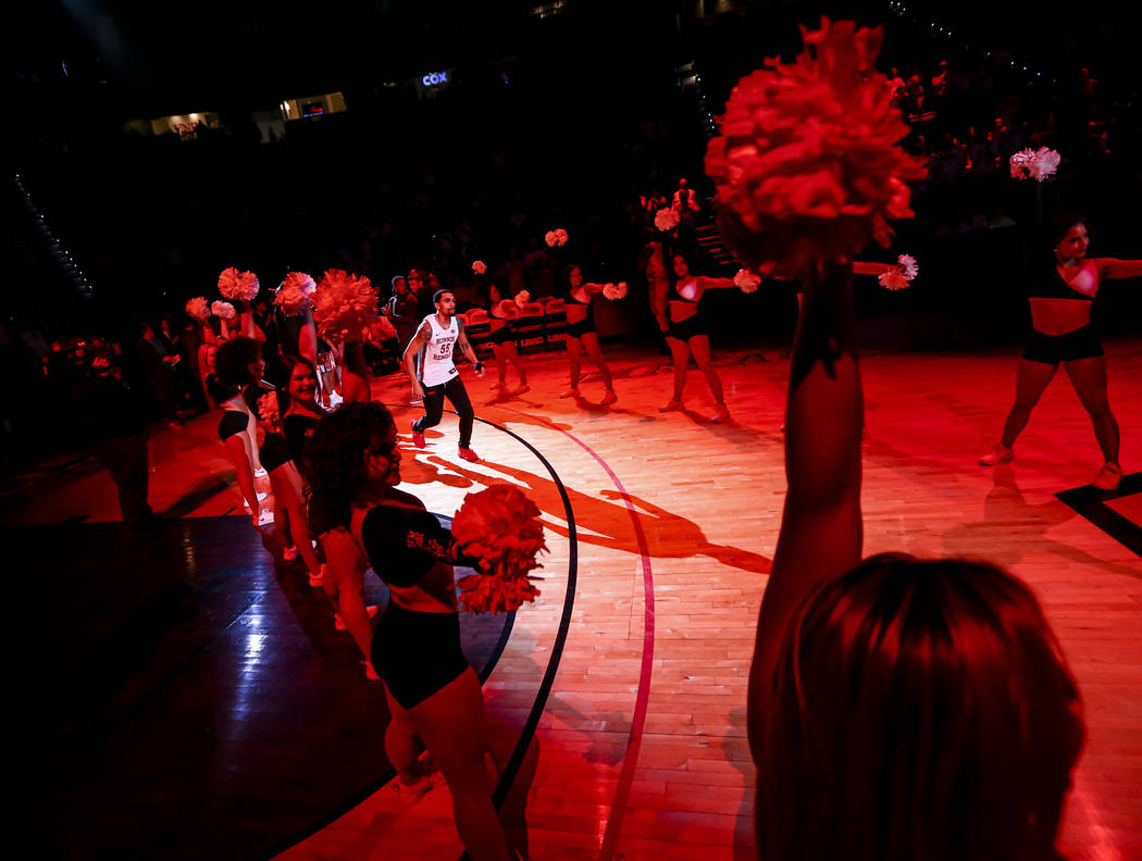 UNLV Rebels' Elijah Mitrou-Long (55) is introduced before the start of a basketball game agains ...