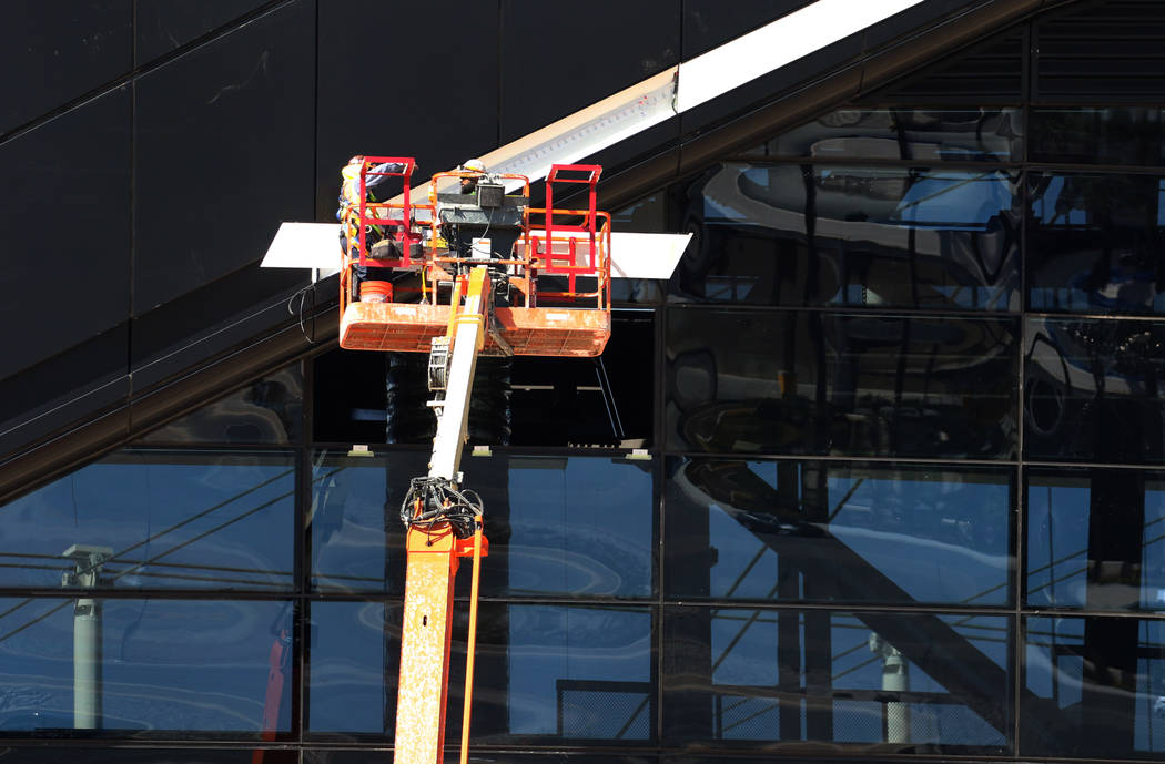 Construction continues at Allegiant Stadium on Wednesday, Feb. 26, 2020, in Las Vegas. (Bizuaye ...