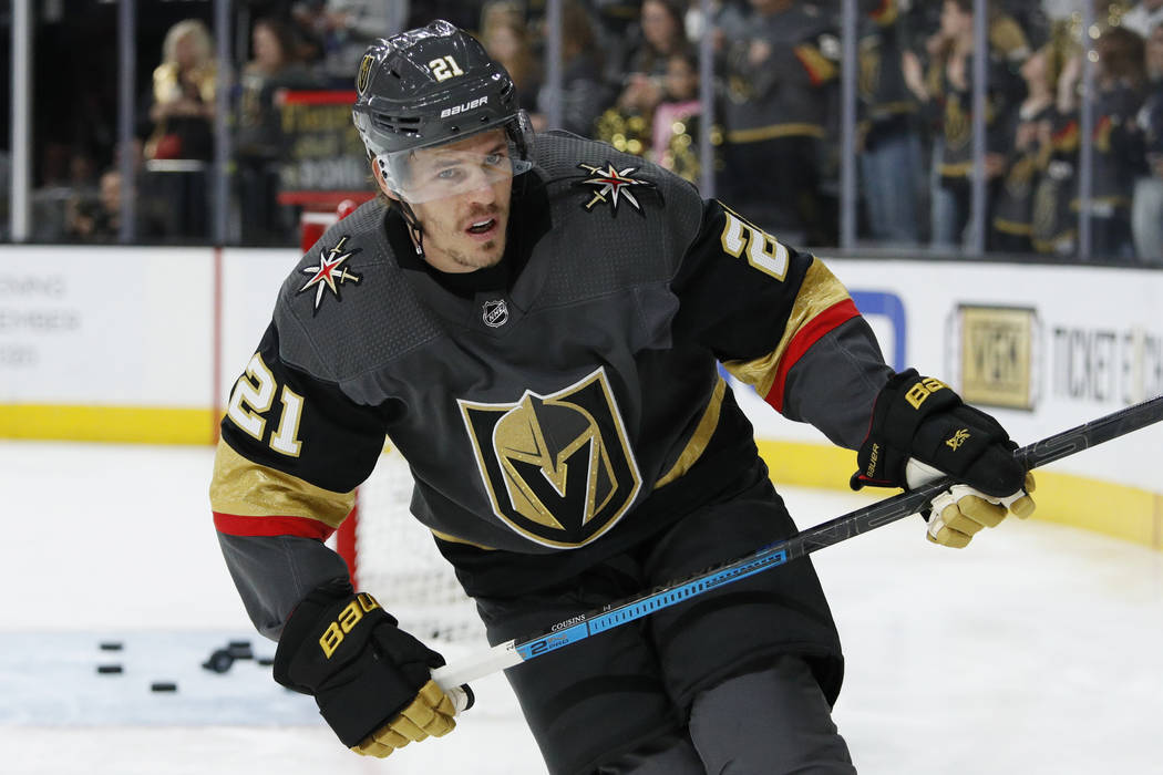 Vegas Golden Knights center Nick Cousins (21) warms up before an NHL hockey game against the Ed ...