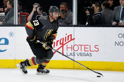 Vegas Golden Knights defenseman Alec Martinez (23) warms up before an NHL hockey game against t ...