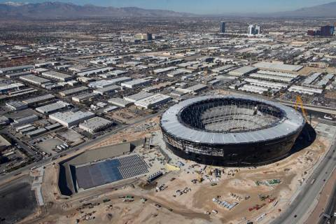Aerial photo of Allegiant Stadium, future home of the Las Vega Raiders, pictured on Thursday, J ...
