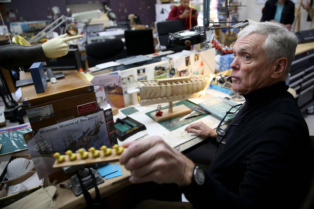 U.S. Air Force veteran Jim Twohig talks about his ship model building projects at Desert Vista ...