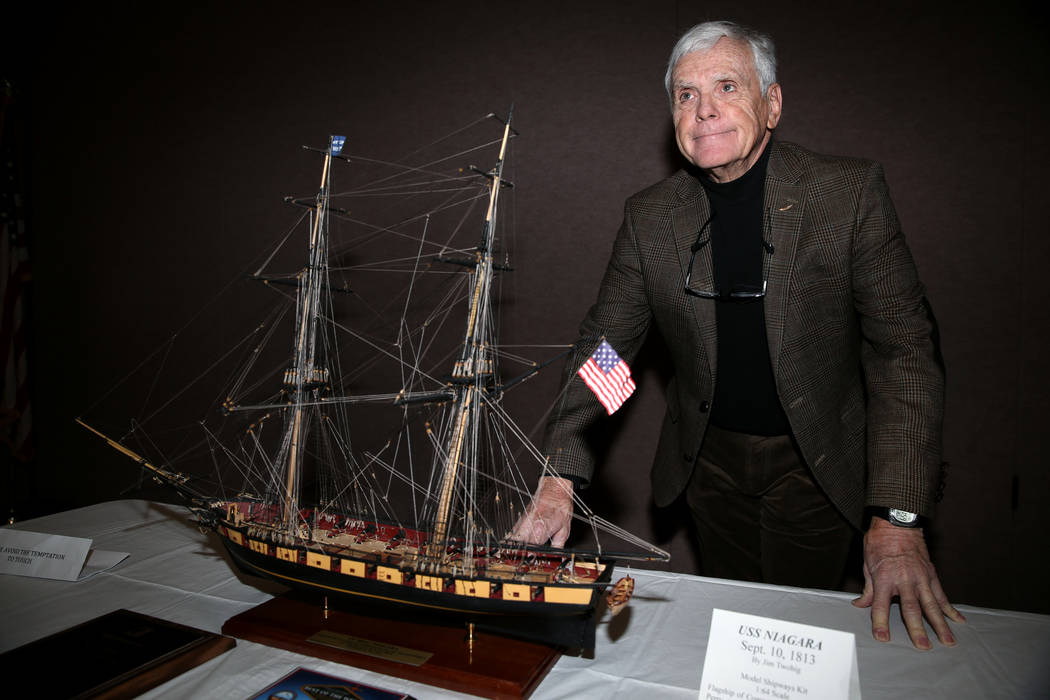 U.S. Air Force veteran Jim Twohig poses with the U.S. Brig Niagara ship model he completed afte ...