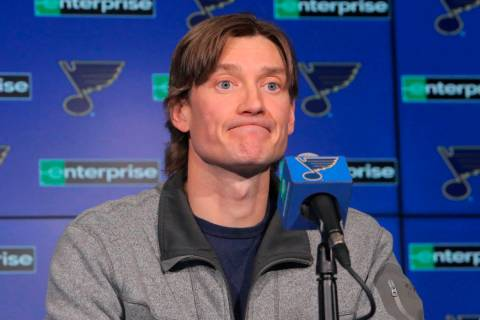 St. Louis Blues defenseman Jay Bouwmeester reacts to a question about his injury during a press ...