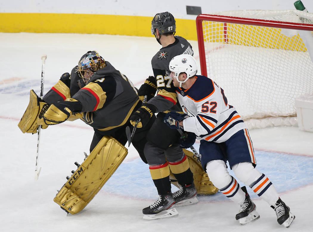 Vegas Golden Knights goaltender Marc-Andre Fleury (29) makes a save against Edmonton Oilers rig ...