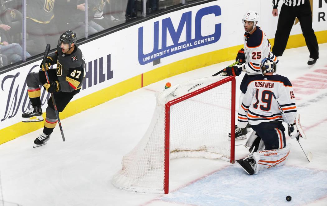 Vegas Golden Knights left wing Max Pacioretty (67) scores against Edmonton Oilers goaltender Mi ...