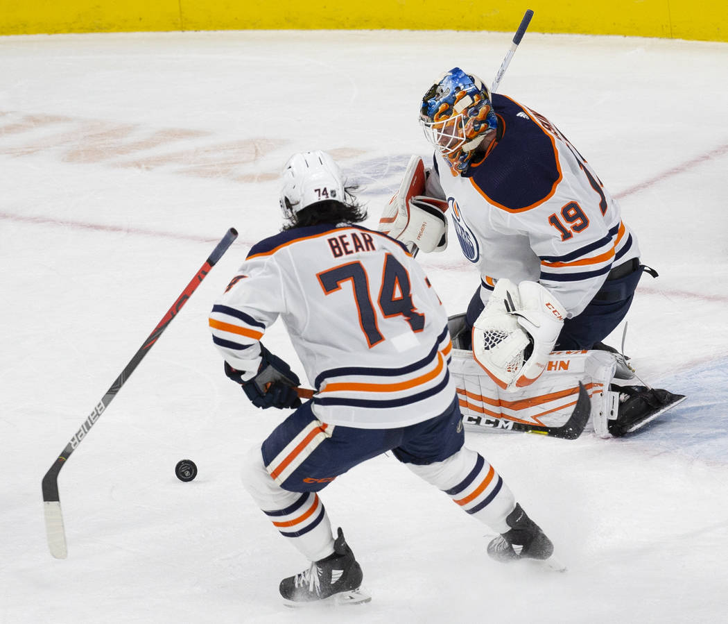 Edmonton Oilers goaltender Mikko Koskinen (19) makes a save in the second period with Edmonton ...