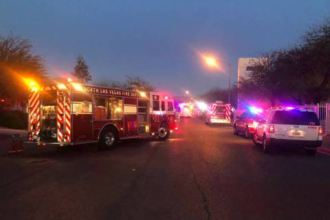 Crews respond to a fire Wednesday, Feb. 26, 2020, at Brady Linen in North Las Vegas. (James Sch ...