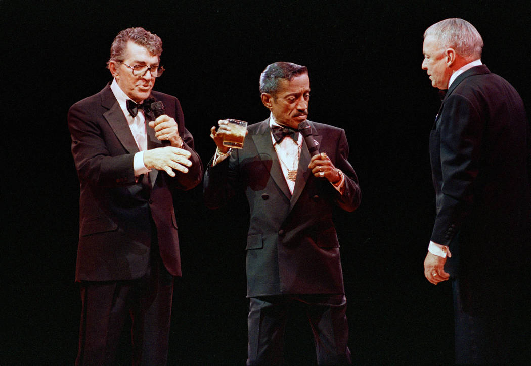 Singer Frank Sinatra, right, Sammy Davis Jr., center, and Dean Martin are reunited at the Oakla ...