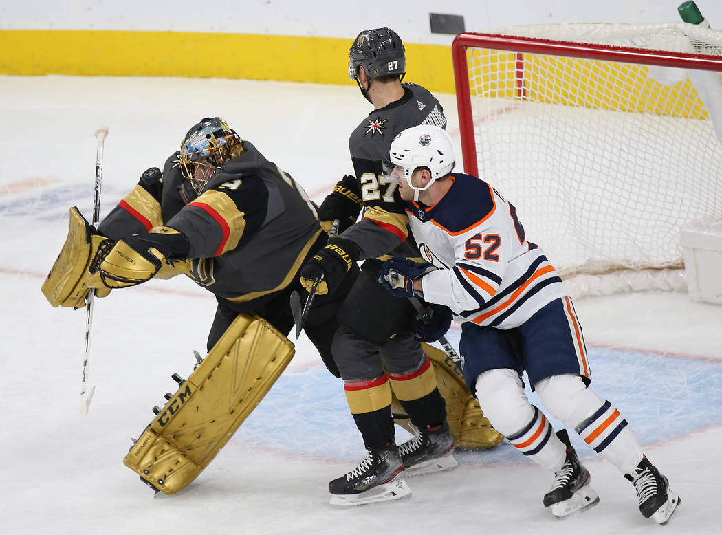 Vegas Golden Knights goaltender Marc-Andre Fleury (29) makes a save against Edmonton Oilers rig ...