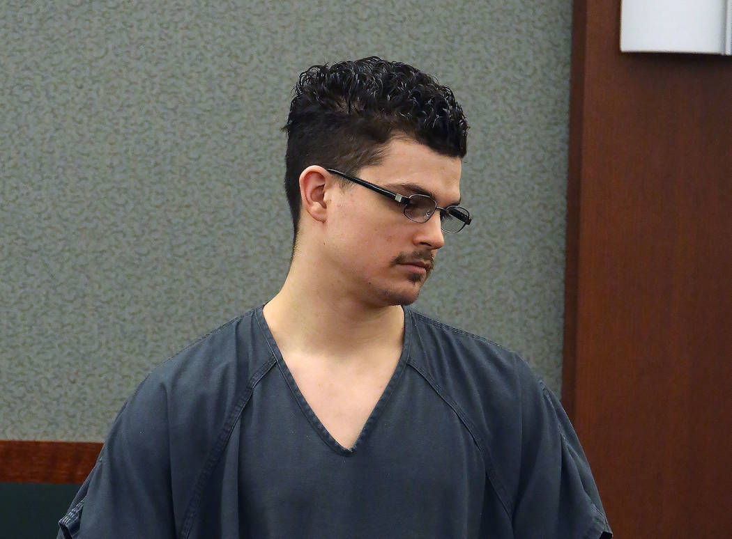 Justin Bennett appears in court during a hearing at the Regional Justice Center on Thursday, Se ...