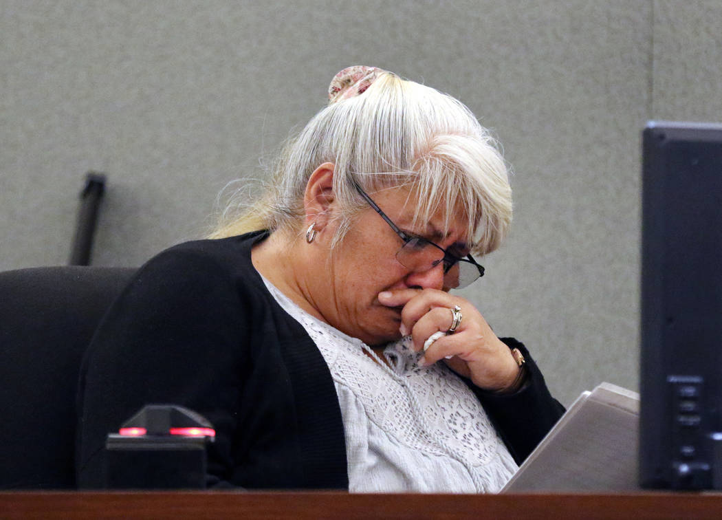 Bernadine Morimoto, the grand mother of murder victim 3-year-old Abygaile Bennett, weeps as she ...