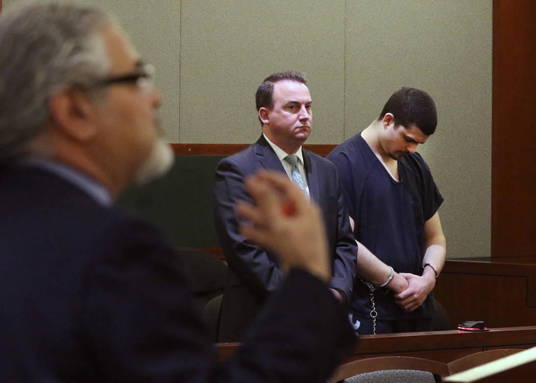 Attorney Joseph Abood, left, representing Justin Tom Bennett, right, convicted in the killing o ...