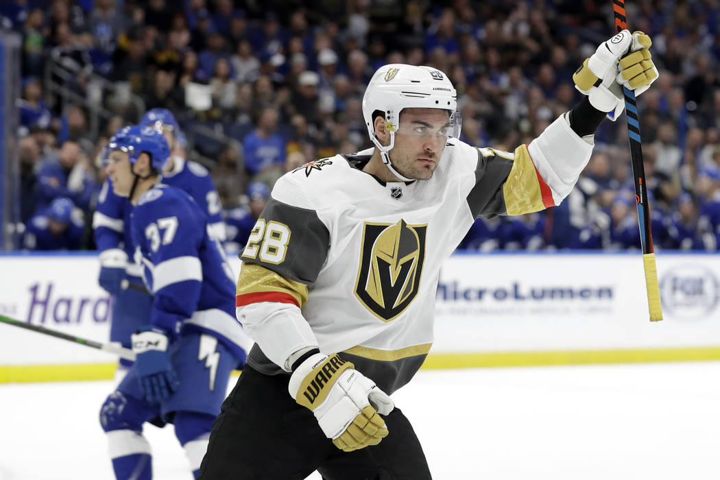 Vegas Golden Knights left wing William Carrier (28) celebrates his goal against the Tampa Bay L ...