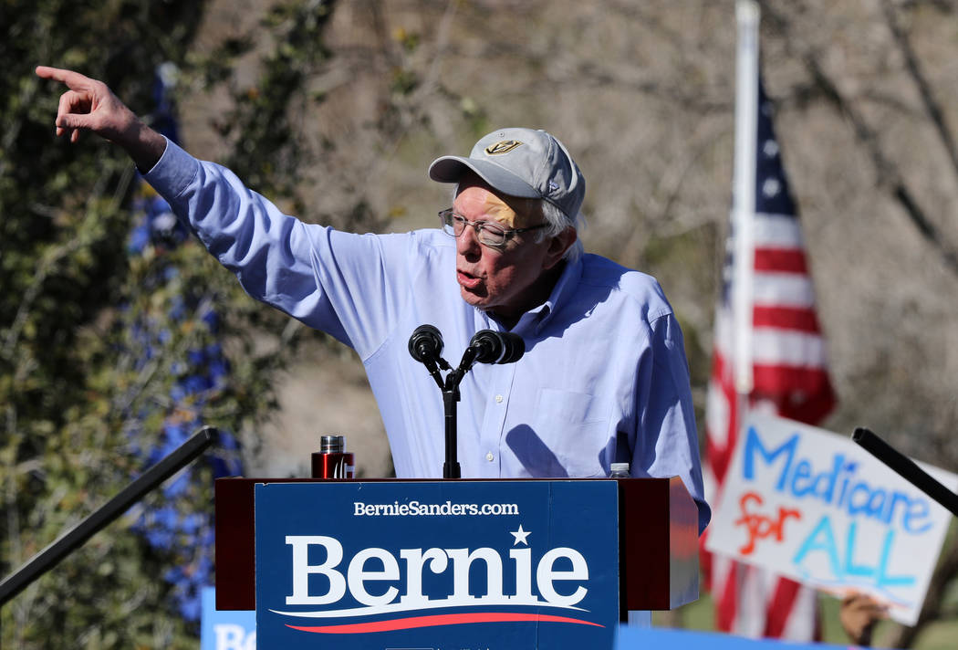 Democratic presidential candidate Sen. Bernie Sanders addresses his supporters at a rally as pa ...