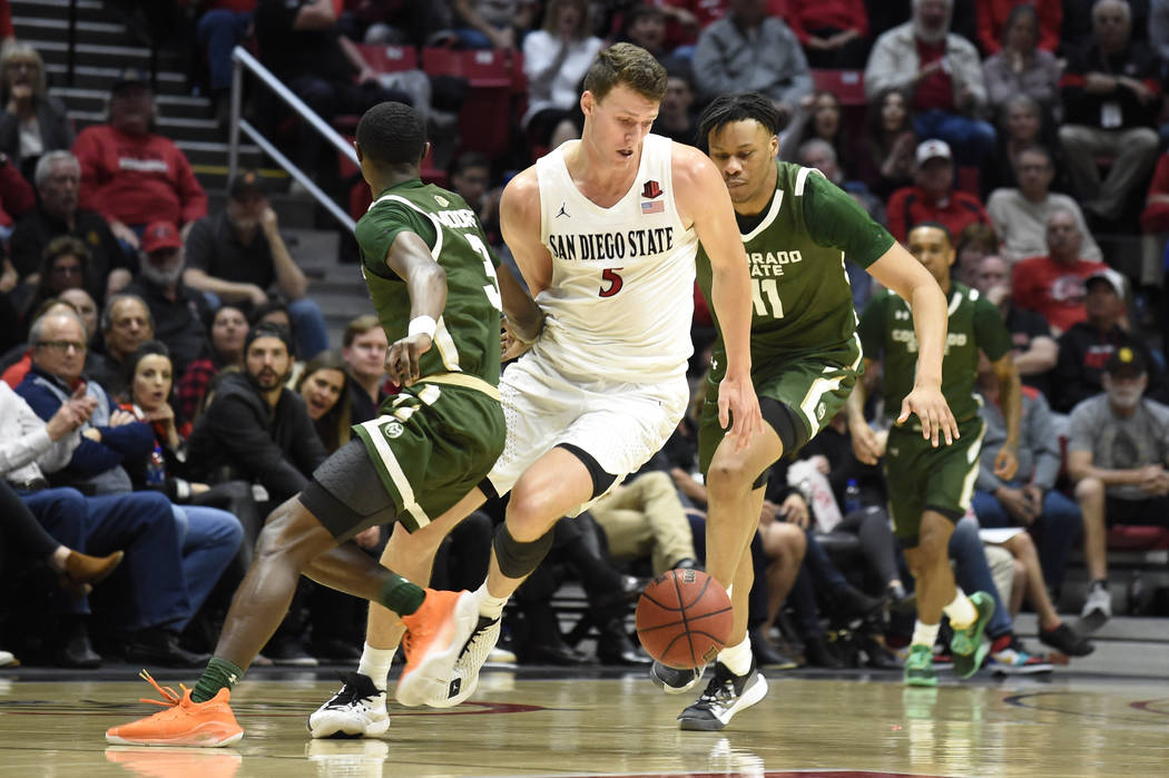 San Diego State forward Yanni Wetzell (5) steals the ball from Colorado State guard Kendle Moor ...