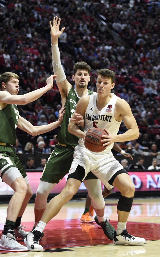San Diego State forward Yanni Wetzell (5) is double-covered by Colorado State forward Adam This ...