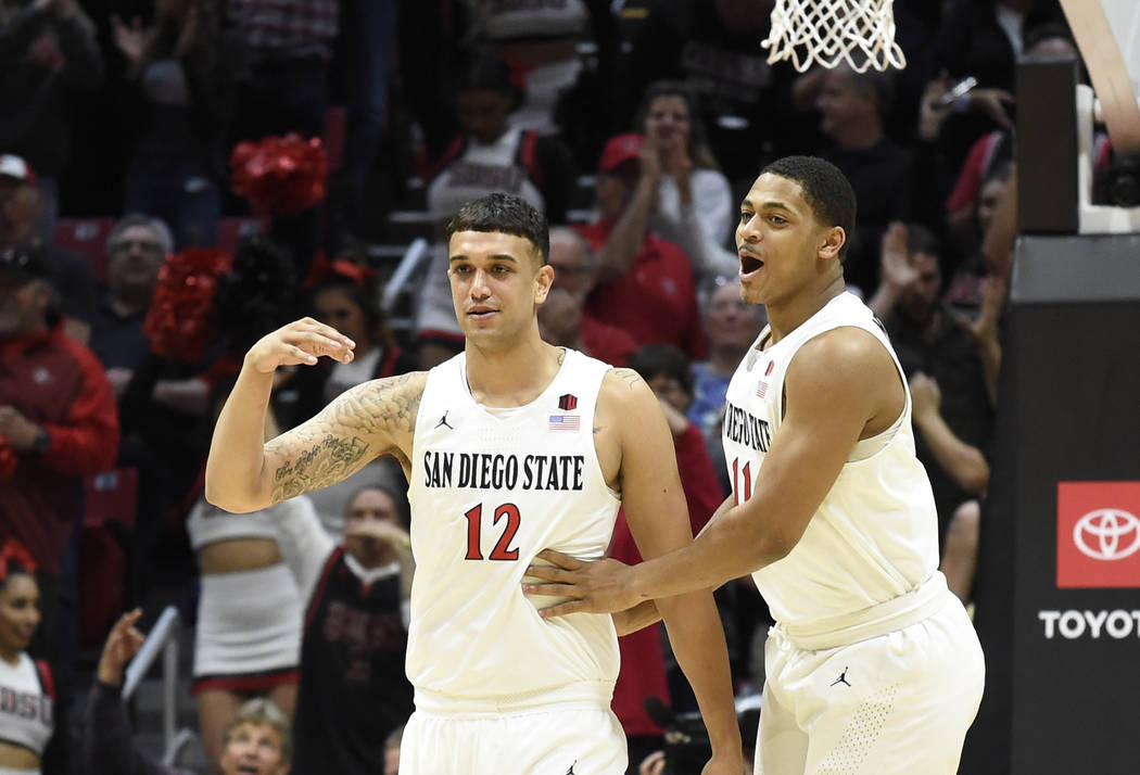 San Diego State forward Matt Mitchell (11), right, and Nolan Narain (12) celebrate during the f ...