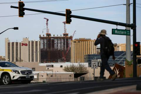 A view of the downtown Las Vegas skyline on Friday, Feb. 28, 2020. (Chase Stevens/Las Vegas Rev ...