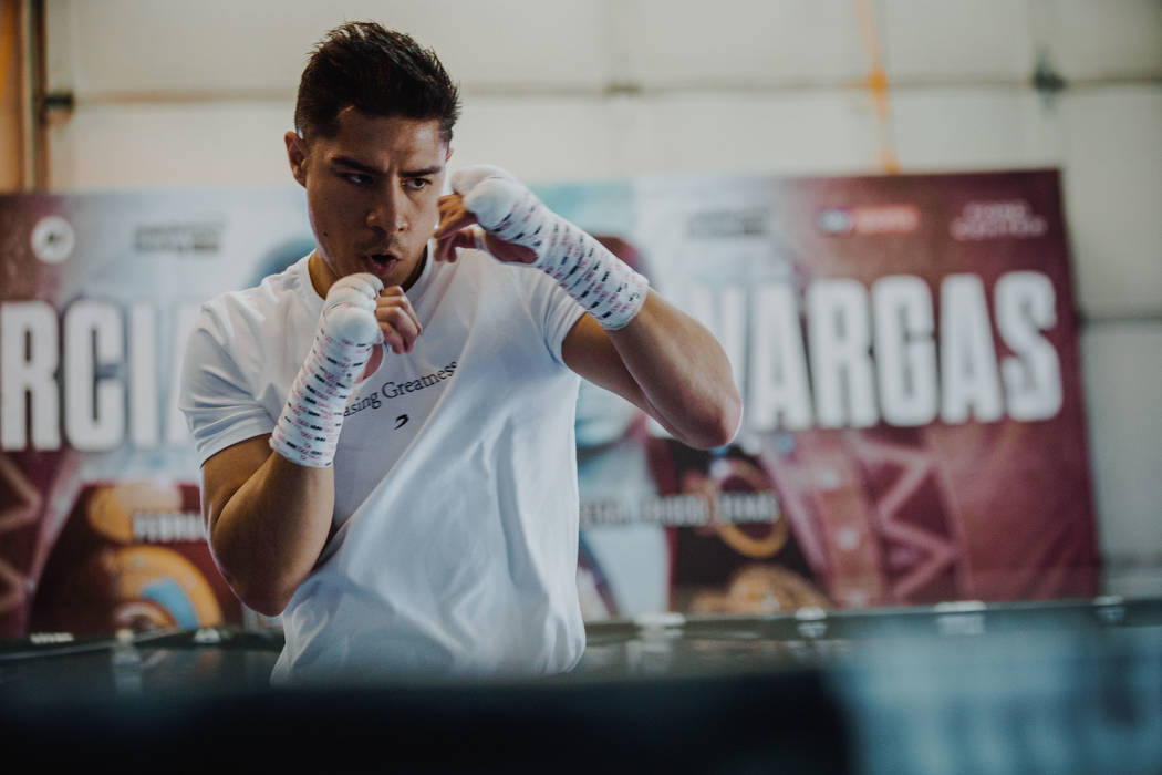 Jessie Vargas in training camp in Las Vegas, Saturday, Feb. 22, 2020, as he prepares for his Fe ...